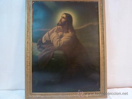 LAMINA DE PAPEL JESUS REZANDO (Arte - Láminas Antiguas)