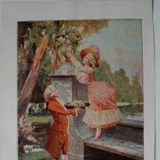 Arte: LÁMINA DE UNA PINTURA DE ALONSO PEREZ.UN DUO EN EL JARDÍN (PROCEDE DE REVISTA, 1915). Lote 35856448