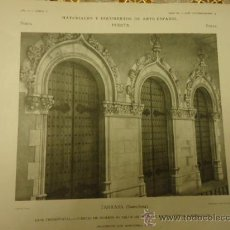 Arte: ANTIGUA LAMINA MATERIALES Y DOCUMENTOS DE ARTE ESPAÑOL : PUERTA, TARRASA BARCELONA. Lote 36135769