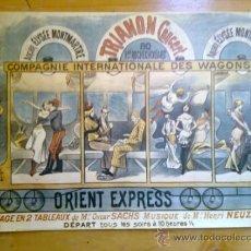 Arte: ANTIGUO CARTEL DE CONCIERTO DE OPERA ORIENT EXPRESS PARIS REPRODUCCION MEDIDAS 34 X 22 CM WAGONS. Lote 36366057