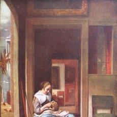 Arte: LA PELADORA DE MANZANAS ANTIGUA LAMINA IMPRESO EN INGLATERRA - SERIE NORMILL MAESTROS HOLANDESES. Lote 36778929
