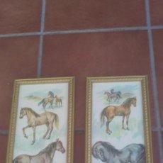 Arte: ANTIGUA LAMINA TEMA CABALLOS SOBRE TABLA ENMARCADA EN MADERA COLOR ORO. Lote 37129016