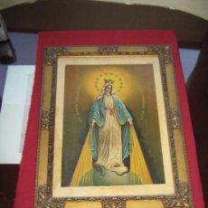 Arte: ANTIGUA LAMINA SOBRE PANEL ENMARCADA - INMACULADA CONCEPCION - 42X56 CM. Lote 37450001