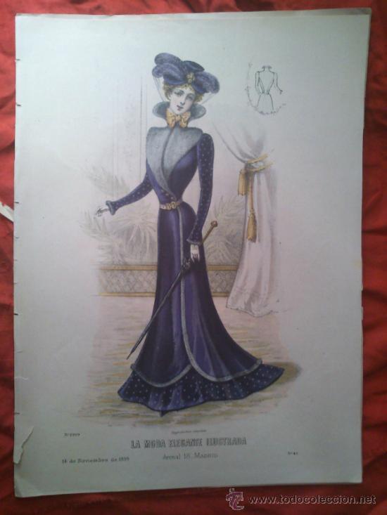 LÁMINA DE MODA DEL SIGLO XIX (Arte - Láminas Antiguas)