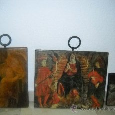 Arte: TRES CUADROS RELIGIOSOS DE LAMINAS SOBRE MADERA,ENGANCHE DE ARGOLLA. Lote 38762947
