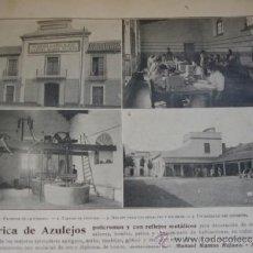 Arte: FABRICA AZULEJOS MANUEL RAMOS REGANO SEVILLA .1910 11X17 AL DORSO FOTO DE GRANADA. Lote 39069848