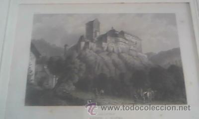 ANTIGUA LAMINA ENMARCADA CHR KRUSI BASEL KARLSTEIN BOHEME (Arte - Láminas Antiguas)