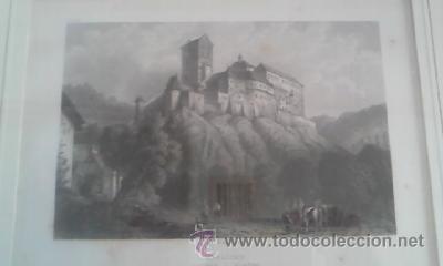 Arte: Antigua lamina enmarcada CHR KRUSI BASEL karlstein boheme - Foto 3 - 39265833