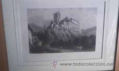 Arte: Antigua lamina enmarcada CHR KRUSI BASEL karlstein boheme - Foto 5 - 39265833