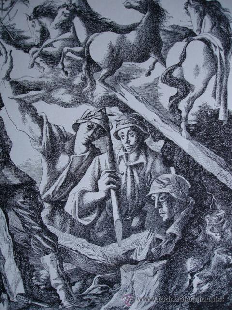 ALEGORIA DE LA GUERRA CIVIL.ANDRES C DENISS .LAMINA DE 18.5X24 (Arte - Láminas Antiguas)