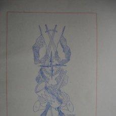 Arte: ALEGORIA DE LA GUERRA CIVIL.DOMINGO VILADOMAT.LAMINA DE 18.5X24. Lote 39749661