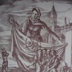 Arte: VALLADOLID.ESCENA ALUSIVA A LA GUERRA CIVIL DE ANDRES CONEJO.1940.18.5X24. Lote 39800775