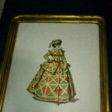 Arte: ANTIGUA LAMINA ENMARCADA EN MADERA PATINADA EN DORADO. Lote 39981634