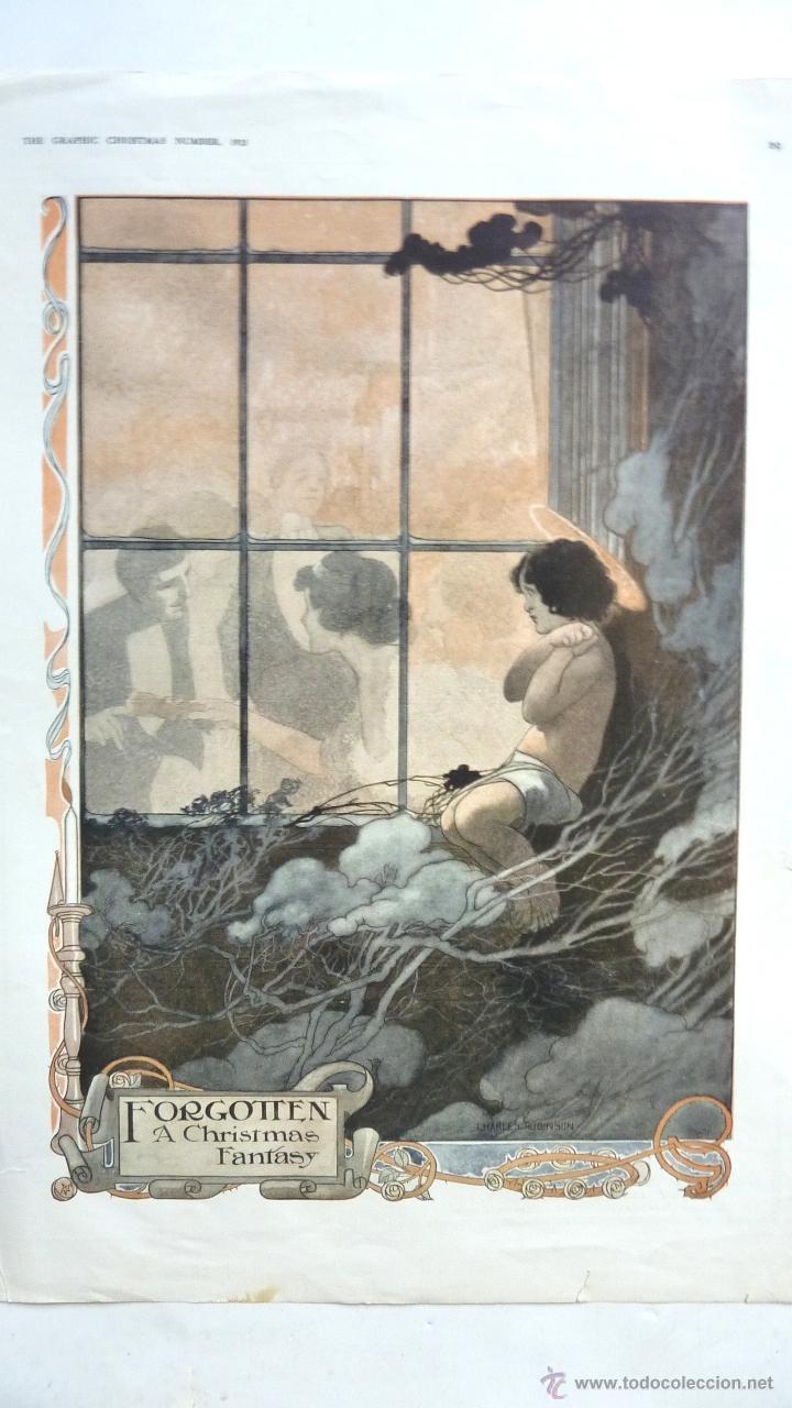 LÁMINA FORGOTTEN A CHRISTMAS FANTASY. AUTOR CHARLES ROBINSON .THE GRAPHICS CHRISTMAS Nº 1913 (Arte - Láminas Antiguas)