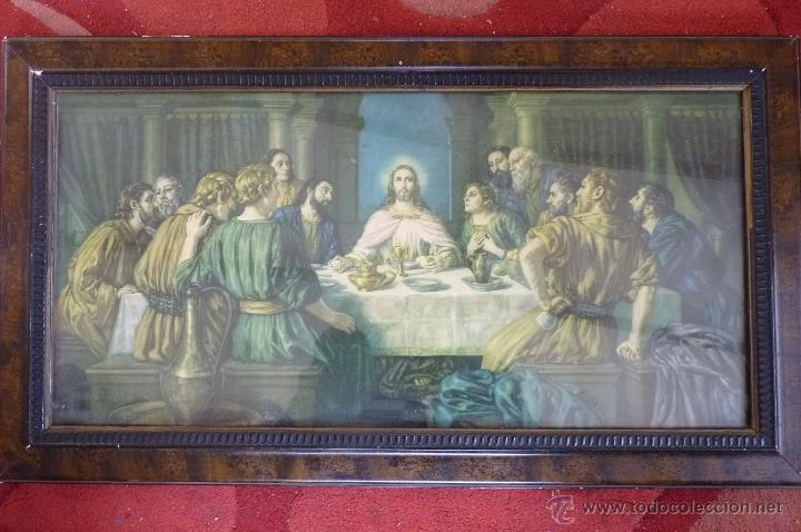 IMAGEN RELIGIOSA PRECIOSO CUADRO CON ANTIGUA LAMINA DE LA SAGRADA CENA PRINCIPIOS DE SIGLO XX (Arte - Láminas Antiguas)