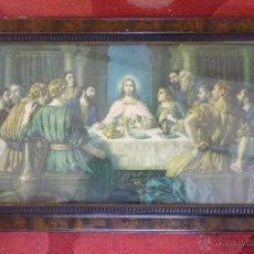 Arte: IMAGEN RELIGIOSA PRECIOSO CUADRO CON ANTIGUA LAMINA DE LA SAGRADA CENA PRINCIPIOS DE SIGLO XX. Lote 40787561