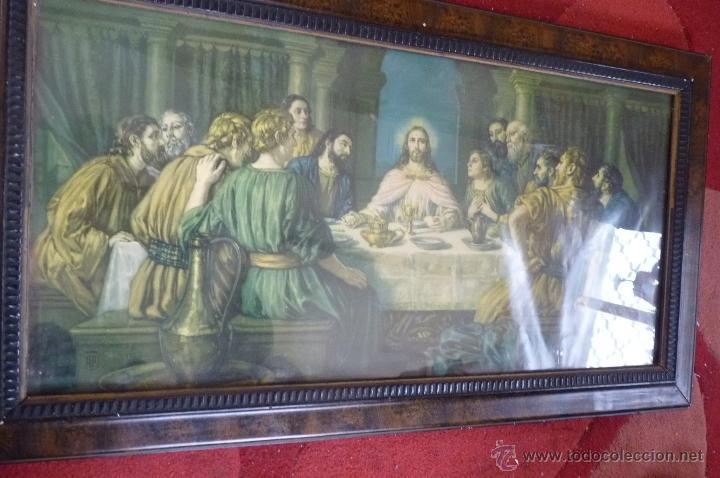 Arte: IMAGEN RELIGIOSA PRECIOSO CUADRO CON ANTIGUA LAMINA DE LA SAGRADA CENA PRINCIPIOS DE SIGLO XX - Foto 4 - 40787561