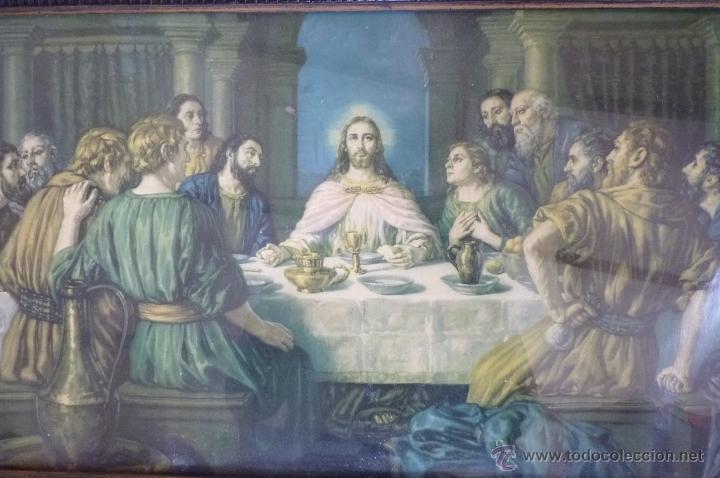 Arte: IMAGEN RELIGIOSA PRECIOSO CUADRO CON ANTIGUA LAMINA DE LA SAGRADA CENA PRINCIPIOS DE SIGLO XX - Foto 5 - 40787561