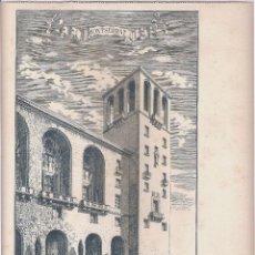 Arte: MONTSERRAT, LA TORRE DE LA NUEVA FACHADA DEL MONASTERIO (EN CONSTRUCCIÓN). Lote 41261211