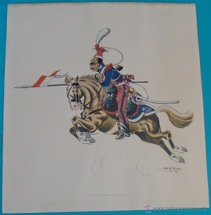 LAMINA UNIFORMES MILITARES DE JOSE MARIA BUENO UNIFORMOLOGO ESPAÑOL (Arte - Láminas Antiguas)