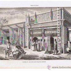 Arte: LAMINA.FOTOTIPIA. 30X21 CM. CARRETON PARA TRASPORTAR PERSONAS, VIAJE A CHINA. 1900. Lote 41581429