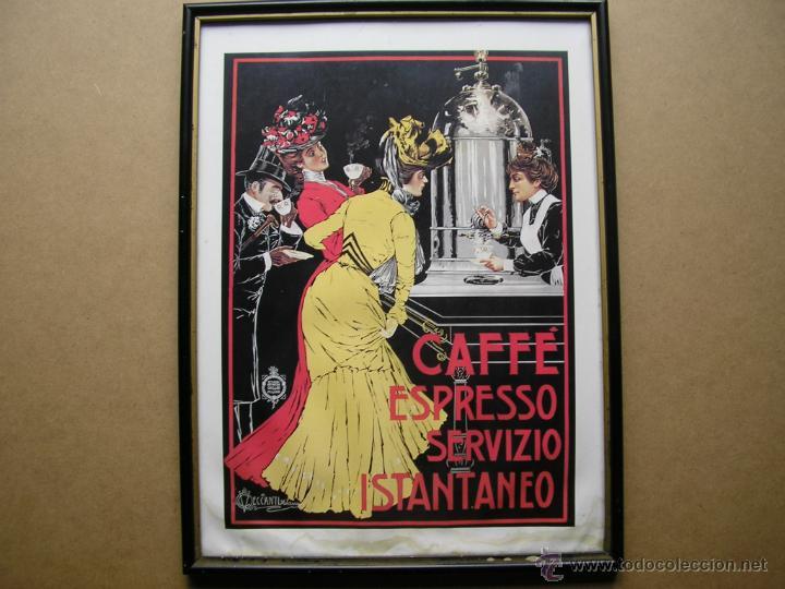 CAFFÉ ESPRESSO SERVIZIO ISTANTANEO,LÁMINA ENMARCADA CON CRISTAL (Arte - Láminas Antiguas)