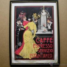 Arte: CAFFÉ ESPRESSO SERVIZIO ISTANTANEO,LÁMINA ENMARCADA CON CRISTAL. Lote 41586862