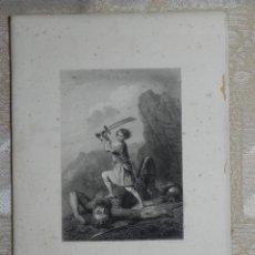 Arte: VENDO LÁMINA FRANCESA DE FINALES DEL SIGLO XIX, (DAVID TUE GOLLIATH). VER MÁS FOTOS EN INTERIOR.. Lote 42550194