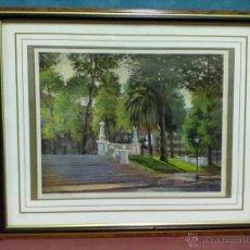 Arte: F. AGUIRRE JARDINES DE ALBIA LAMINA ENMARCADA CON CRISTAL. Lote 42688173