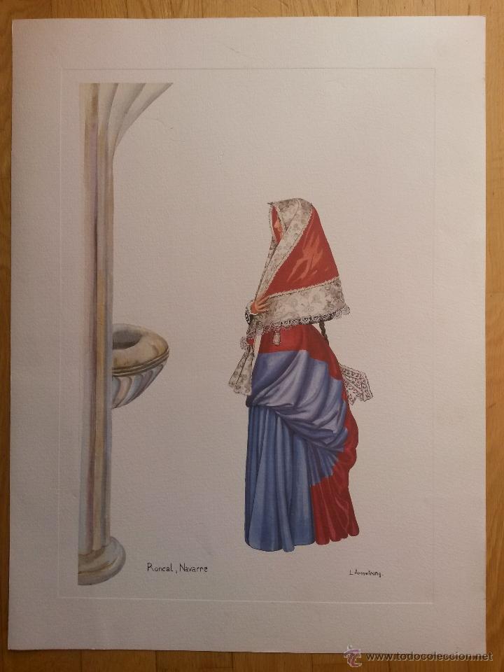 LAMINA DE 56 X 42 CMS RONCAL NAVARRA, ARTISTA L. ARMSTRONG, EL PAPEL ES DE ACUARELA (Arte - Láminas Antiguas)