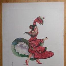 Arte: LAMINA DE 56 X 42 CMS ANDALUCIA, JALEO DE JEREZ, ARTISTA L. ARMSTRONG, EL PAPEL ES DE ACUARELA. Lote 42718135