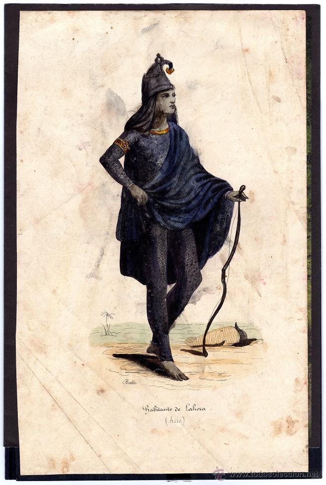 ANTIGUA LÁMINA RAZAS HUMANAS, HABITANTE DE LAHORA ASIA, MEDIDAS 22 X 14 CMS (Arte - Láminas Antiguas)