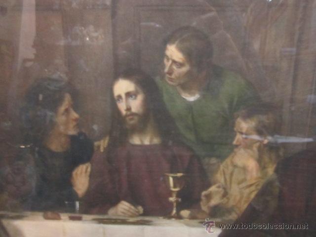 Arte: Gran lámina antigua - La santa cena - con bonito marco. Medida papel: 86 x 54 cms. Marco: 105 x 73,5 - Foto 3 - 43369794