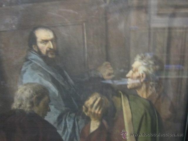 Arte: Gran lámina antigua - La santa cena - con bonito marco. Medida papel: 86 x 54 cms. Marco: 105 x 73,5 - Foto 4 - 43369794