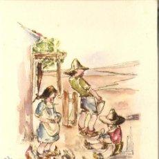 Arte: LÁMINA-LOS NIÑOS DE ESPAÑA Y SUS JUEGOS, EN LA GRANJA, AÑOS 50, DE ORTIZ VALIENTE, EDICIONES ROCHE. Lote 43405523