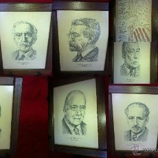 Arte: PRESIDENTES DE CATALUÑA CON DIBUJOS DE JOSEP CEBRIÀ AÑO 1978 CUADROS DE MADERA. Lote 44329374