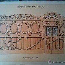Arte: ANTIGUA LAMINA MODERNISTA CARPINTERIA ARTISTICA AÑO 1905 INTERIOR TABERNA 35 X 25 CM. Lote 44821923