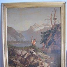 Arte: LÁMINA ENMARCADA S. XIX. ESCENA DE CAZA. Lote 44884236