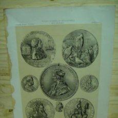 Arte: LAMINA MUSEO ESPAÑOL DE ANTIGUEDADES - MEDALLONES HISTORICOS. Lote 44916336