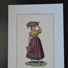 Arte: LÁMINA 28 - TIPOS MADRILEÑOS - VENDEDORA DE FRUTAS - PROFESIONES OFICIOS MADRID S. XIX. Lote 45878843