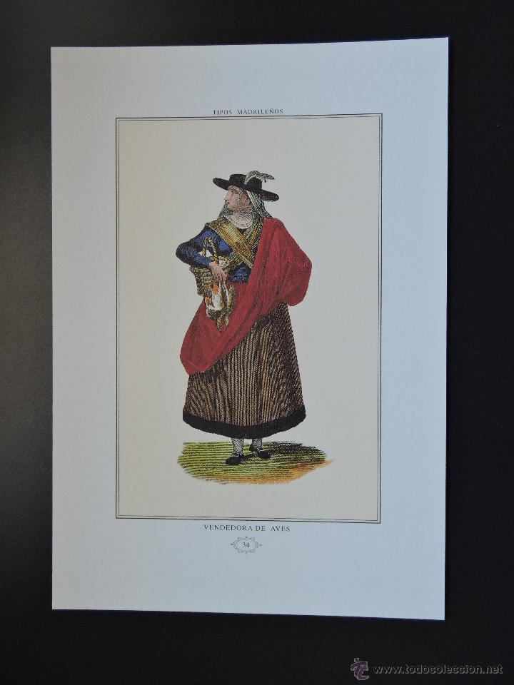 LÁMINA 34 - TIPOS MADRILEÑOS - VENDEDORA DE AVES - PROFESIONES OFICIOS MADRID S. XIX (Arte - Láminas Antiguas)