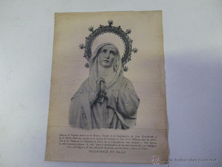MUY ANTIGUA LAMINA VIRGEN DE LOS DOLORES LA HABANA , CUBA ,,,,,, VER FOTOS (Arte - Láminas Antiguas)