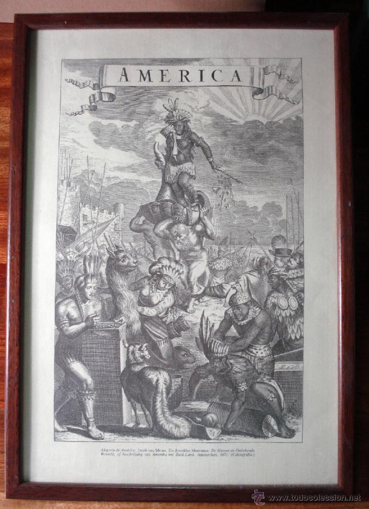 ALEGORÍA DE AMÉRICA ANTIGUA REPRODUCCIÓN DE LA CALCOGRAFÍA ORIGINAL ENMARCADA MUY BONITA (Arte - Láminas Antiguas)