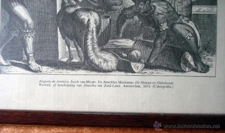 Arte: ALEGORÍA DE AMÉRICA ANTIGUA REPRODUCCIÓN DE LA CALCOGRAFÍA ORIGINAL ENMARCADA MUY BONITA - Foto 2 - 161980114