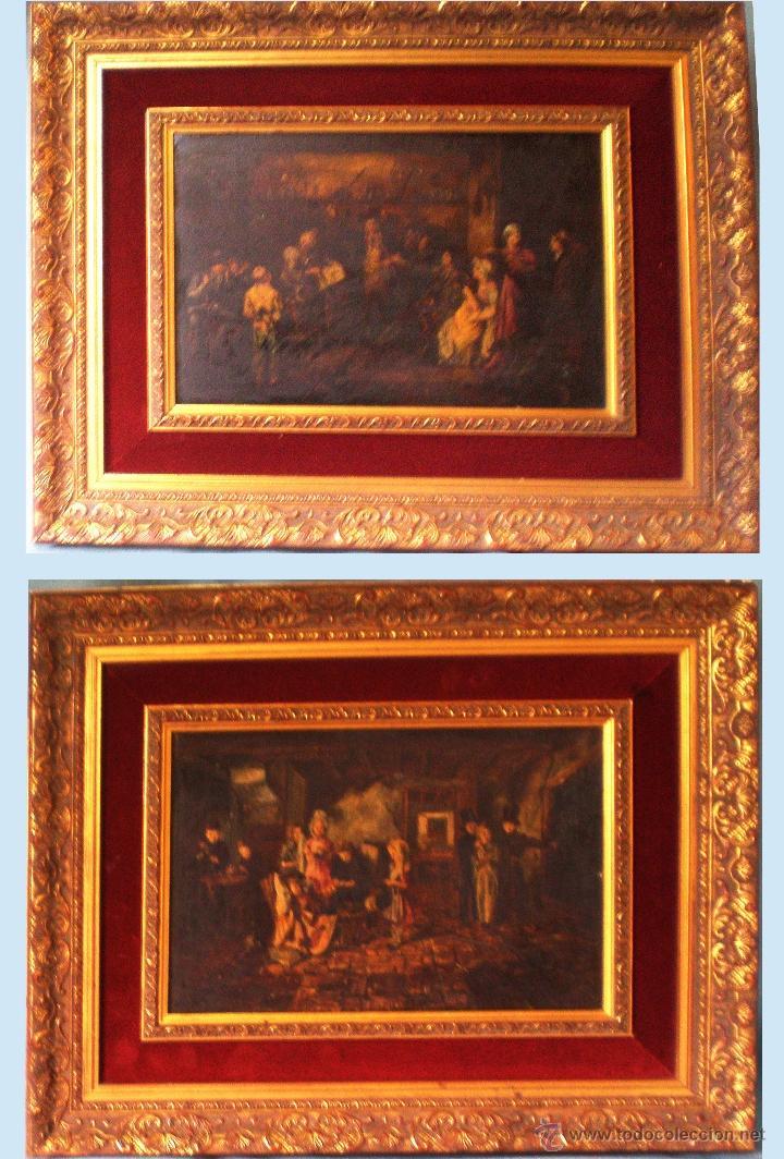 PAR DE LAMINAS PINTURAS CLASICAS SOBRE TABLA 35 X 25 CM.CON PAPARTOUS Y MARCO MEDIDAS 64 X 44 CM. (Arte - Láminas Antiguas)