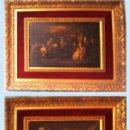 Arte: PAR DE LAMINAS PINTURAS CLASICAS SOBRE TABLA 35 X 25 CM.CON PAPARTOUS Y MARCO MEDIDAS 64 X 44 CM.. Lote 47664634