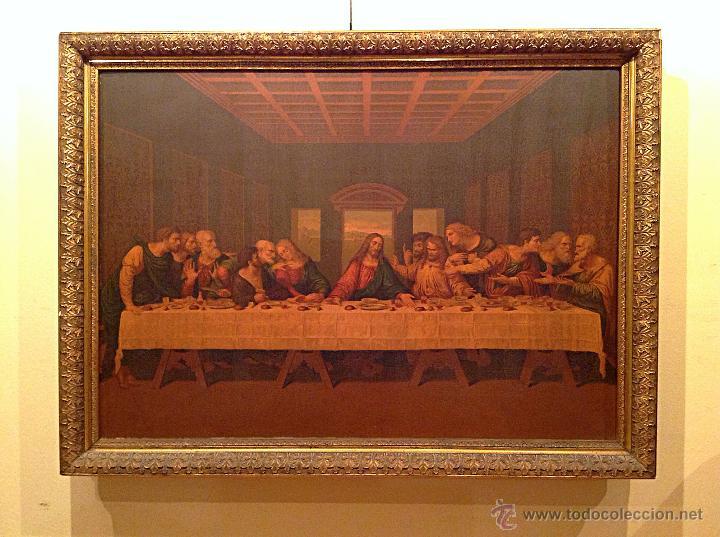 "Arte: Antigua Lámina sobre tabla ""La Última Cena"" Medidas 99X74CM - Foto 2 - 48766867"