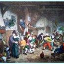 Arte: A. VAN OSTADE, REPRODUCCIÓN EN LAMINA DE 55,5 X 42,5 CM.DE -FETE DE FAMILLE- Y COLOREADA POR DAUDET.. Lote 48816479