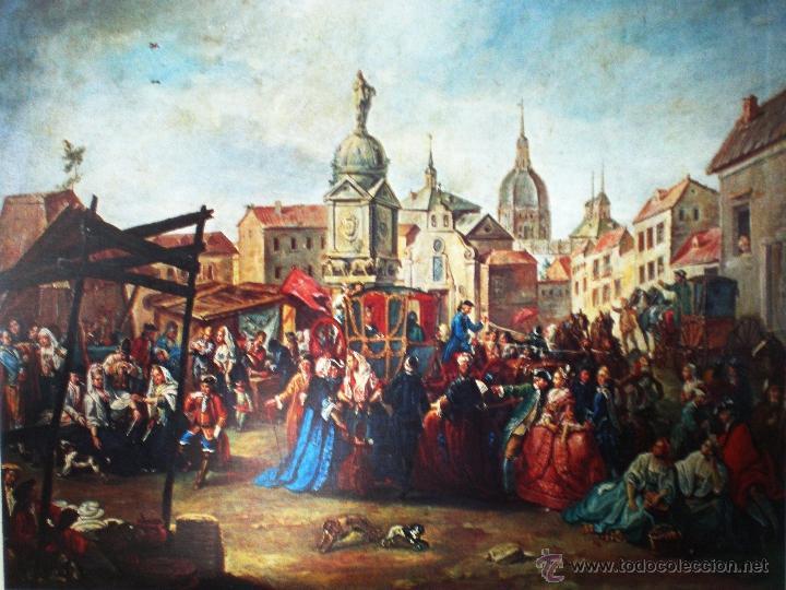 MADRID REPRODUCCIÓN EN LAMINA DE 58,5 X 46,5 CM.-FERIA DE LA PZA.DE LA CEBADA- POR MANUEL DE LA CRUZ (Arte - Láminas Antiguas)