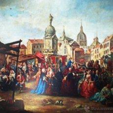 Arte: MADRID REPRODUCCIÓN EN LAMINA DE 58,5 X 46,5 CM.-FERIA DE LA PZA.DE LA CEBADA- POR MANUEL DE LA CRUZ. Lote 48821391